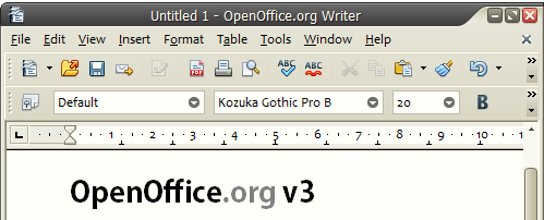 OpenOffice Writer. Click for bigger screenshot of Writer